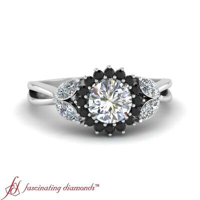 Round Cut White And Black Diamond Halo Engagement Ring In 18K White Gold 1.15 Ct
