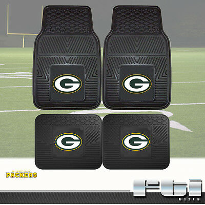 Green Bay Packers Floor Mat - Green Bay Packers NFL Heavy Duty Vinyl 2-Pc & 4-Pc Floor Car Truck SUV Mat Sets