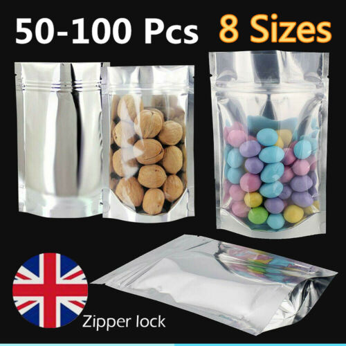 Zip lock Heat Seal Foil Bags Stand Up Pouch Clear Silver Foo