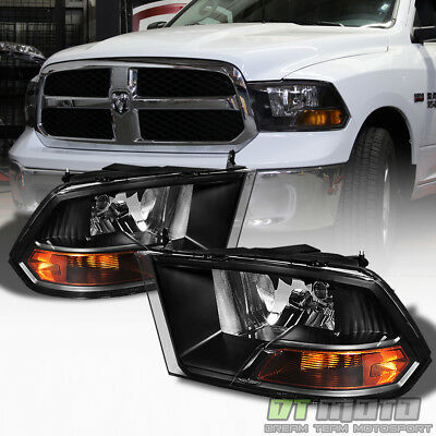 2009-2018 Dodge Ram Black Headlights Lamps Replacement Left+Right 09-18 Lights