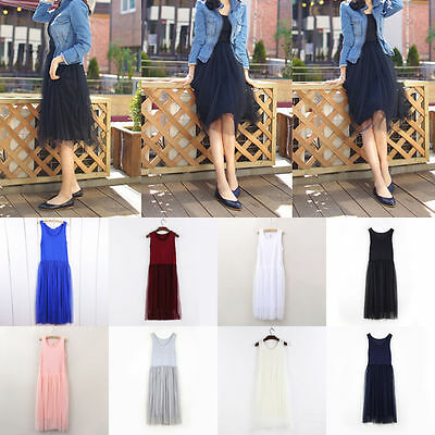 Women Elastic High Waist Vest Gauze Tulle Bouffant Dress Gown Long Midi Skirt