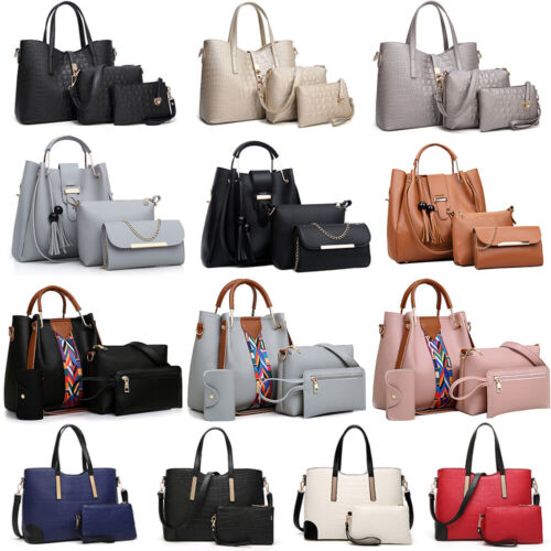 Women's Pu Leather Tote Purse Handbags Set Satchel Shoulder