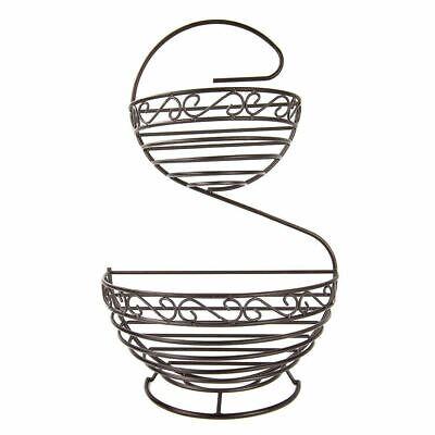 - Home Basics Scroll Collection 2 Tier Spiral Fruit Basket, Bronze - FB45388