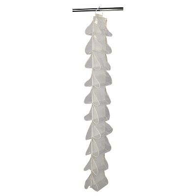 Household Essentials 20-Pocket Hanging Shoe File Organizer, Natural Canvas