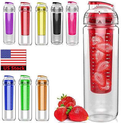 USA 700ML Sports Fruit Infusing Infuser Water Lemon Juice Health Bottle Flip Lid