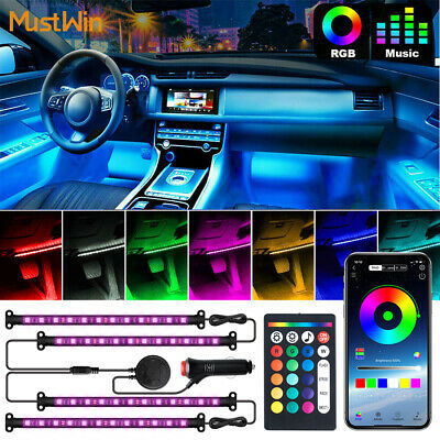 RGB Car Interior led Light Strip Atmosphere Bluetooth App Control 48LED lighting