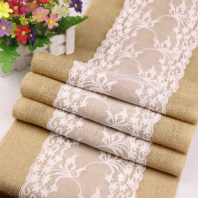 Lace Decorations (5Pcs Rustic Burlap Lace Hessian Table Runner Wedding Banquet Party Table)