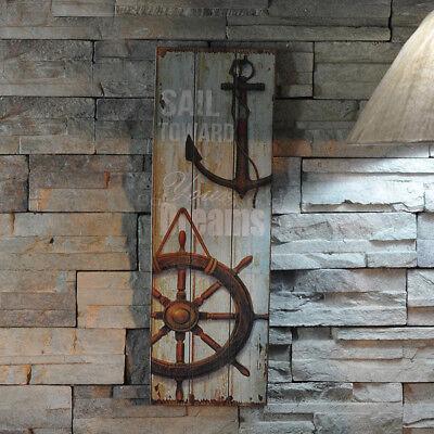 Rustic Wooden Anchor Plaque Nautical Decor Beach Coast Seaside Theme Bathroom #A