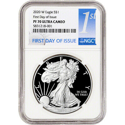 2020-W American Silver Eagle Proof - NGC PF70 UCAM First Day Issue 1st Label