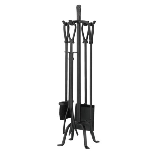 """31"""" 5-piece Heavy Wrought Iron Loop Handle Fireplace Tool Set"""