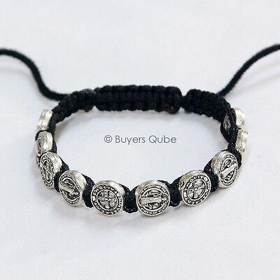 """Inspirational St. Benedict Black Cord Bracelet 10 Medal Beads 8""""L Adjustable"""