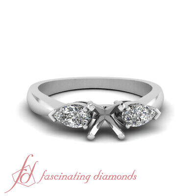 Pear Shape Center Setting (3 Stone Pear Shape Diamond Engagement Ring Setting,place your own center)