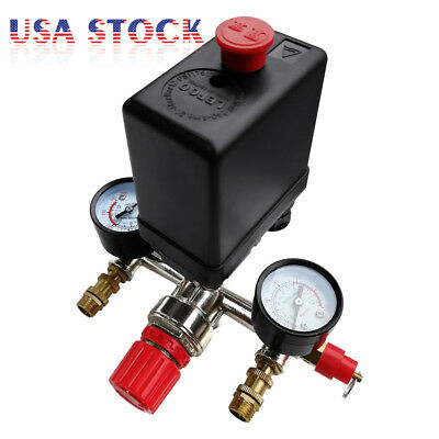 90-120 Psi Air Compressor Valve Gauges Regulator Pump Pressure Control Switch