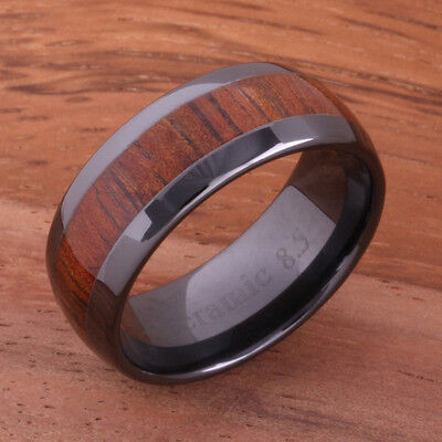 Black Ceramic Koa Wood Ring Wedding Ring Oval Shape Mens Ring 8mm TUR4005  8 Mm Ceramic Ring