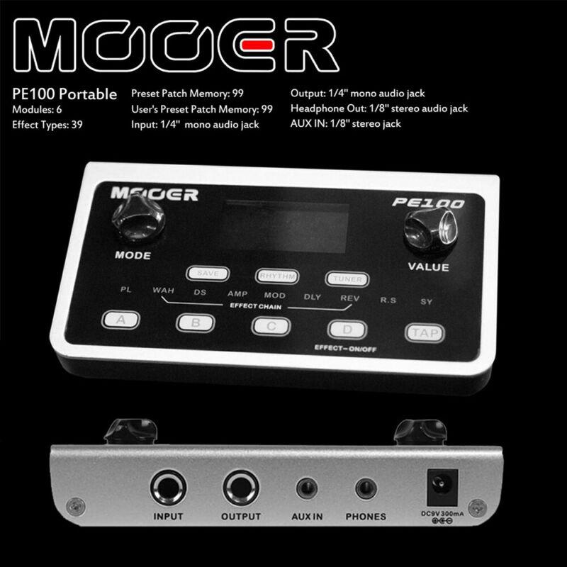 Mooer PE100 Multi-effects Guitar Effect Pedal Desktop + US Adapter LCD Display