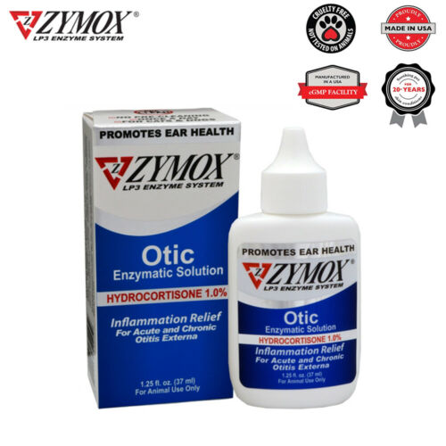 Zymox Ear Cleanser For Dogs And Cats 1% Hydrocortisone 1.25 OZ, in BOX