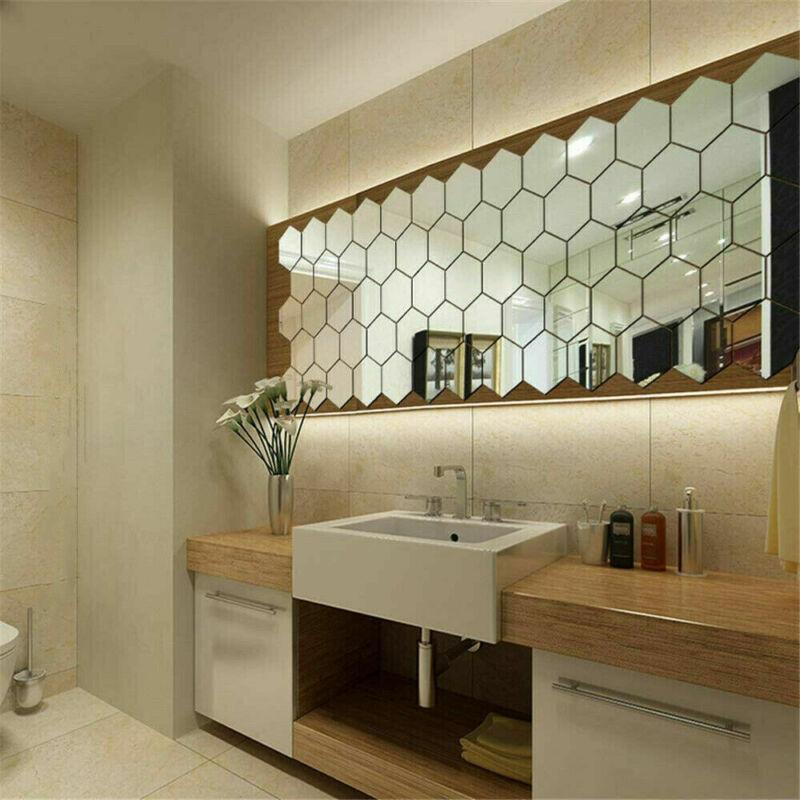 Home Decoration - 48X Acrylic 3D Mirror Effect Tile Wall Stickers Home Decor Stick Art Bathroom