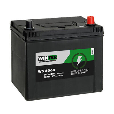 Winter Asia Autobatterie 12V 60AH Starterbatterie Plus Pol Rechts 56568