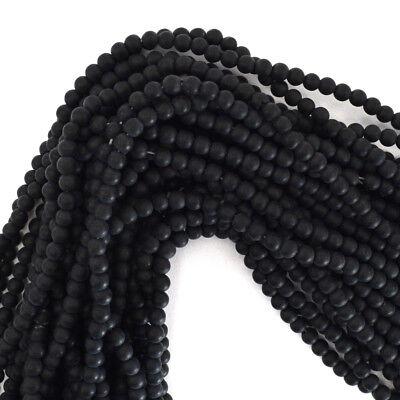 "Matte Black Onyx Round Beads Gemstone 15"" Strand 4mm 6mm 8mm 10mm 12mm"