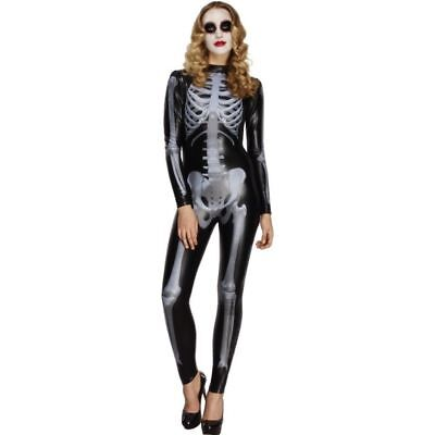 Smi - Halloween Damen Kostüm sexy Skelett Catsuit Skelettkostüm (Skelett Sexy Kostüme)