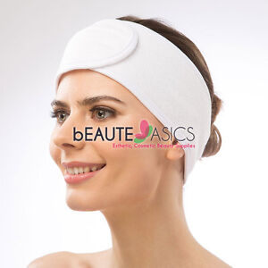 Womens White Stretchable Spa Headbands Thick Terry Cloth - AH1009W x1