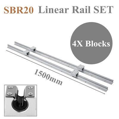 Sbr20-1500mm Linear Rail Set Guide 2x Shaft 4x Sbr20uu Blocks Bearing For Cnc