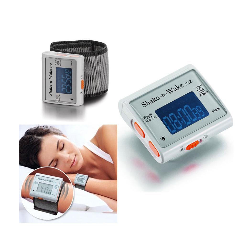 Silent Vibrating Personal Alarm Clock Shake N Wake LED Clock White 2 PACK