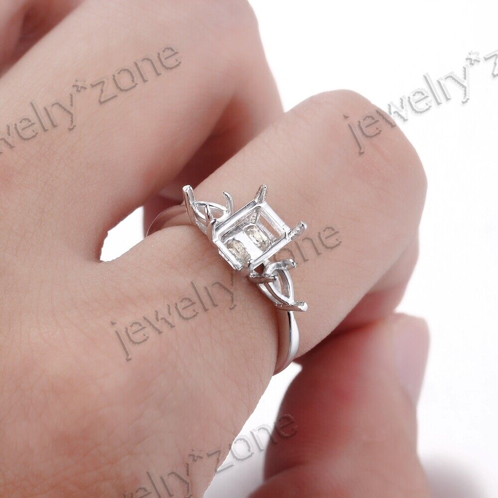 Sale 3- Stone14K White Gold 8X6MM Cushion/Emerald Mount Anniversary ...