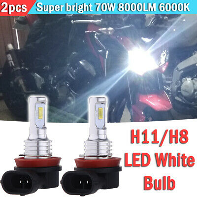 2x H11 H8 H9 Motorcycle LED Headlights Bulbs Kit High/Low 70W 8000LM 6000K White