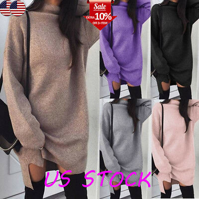 Womens Loose Sweater Dress Turtle Neck Long Sleeve Solid Sexy Pullover Plus Size ()