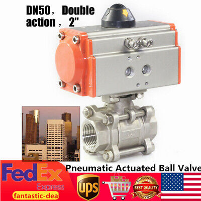 2 Pneumatic Air Actuated Ball Valve 304 Stainless Steel Double Acting 01000psi