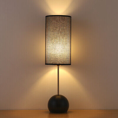 Modern Table Floor Lamp with Black Linen lampshade Stable Spherical  Base ()