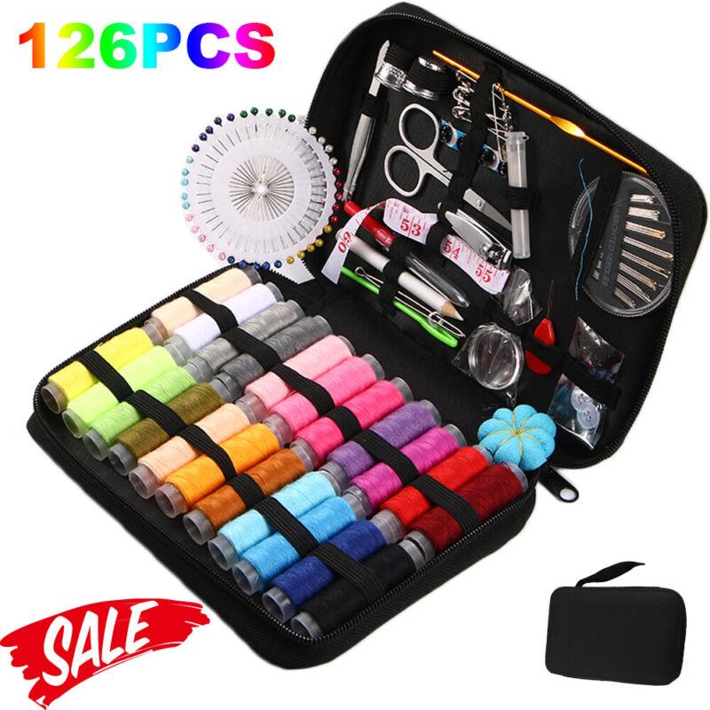 126Pc Sewing Kit Measure Scissor Thimble Thread Needle Storage Box Travel Set DM