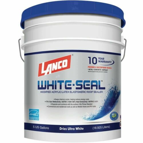 Elastomeric Seal Roof Leaks 5 Gallon White Coating Waterproof Rubberized Cool RV