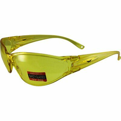 Global Vision Phd Wrap Around Safety Glasses Yellow Frame Yellow Lens Ansi Z87.1
