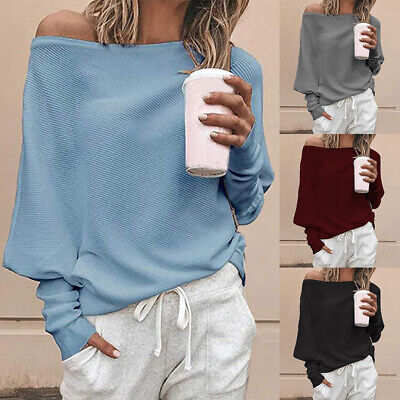 Womens Oversized Long Sleeve Off Shoulder Pullover Sweater Casual Jumper Tops F