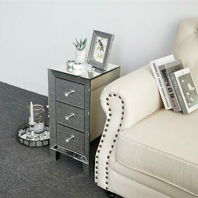Mirrored 3-Drawer Nightstand Accent Chest Cabinet Bedside Table End Side Table