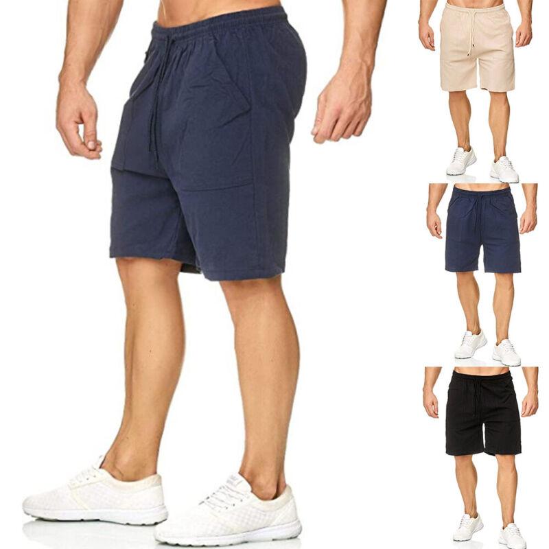 ❤️ Mens Casual Shorts Half Pants Pockets Drawstring Elastic Waist Short Trousers