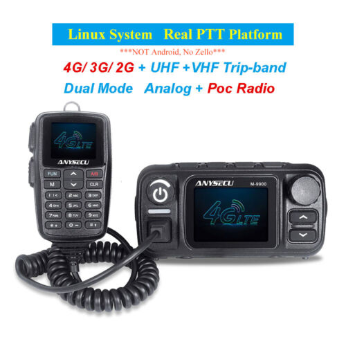 Anysecu M-9900 4G Network Radio Real PTT Analogue Model Dual Band Mobile Radio