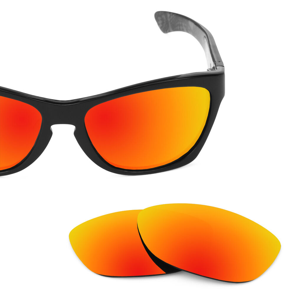 oakley flak jacket black iridium polarized lenses  polarized fire red replacement