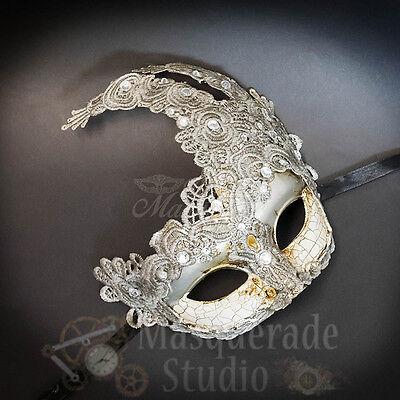 Venetian Brocade Lace Mardi Gras Prom Masquerade Mask with Rhinestones [Silver] - Lace Masquerade Mask