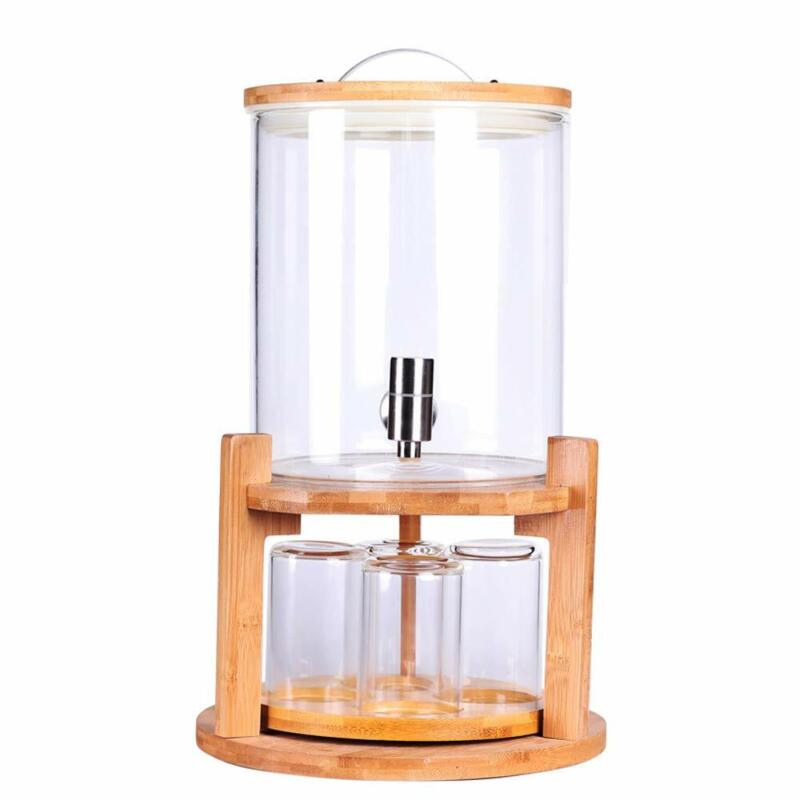 Glass Drink Dispenser on Wooden Stand with Airtight Bamboo L