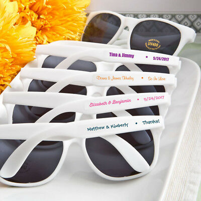 40-200 Personalized Trendy White Sunglasses  - Beach Wedding Party - Sunglasses Personalized