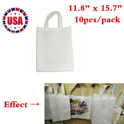 11.8 X 15.7 Shopping Bags Blank Sublimation Non-woven Tote Bags 10pcs Us Stock