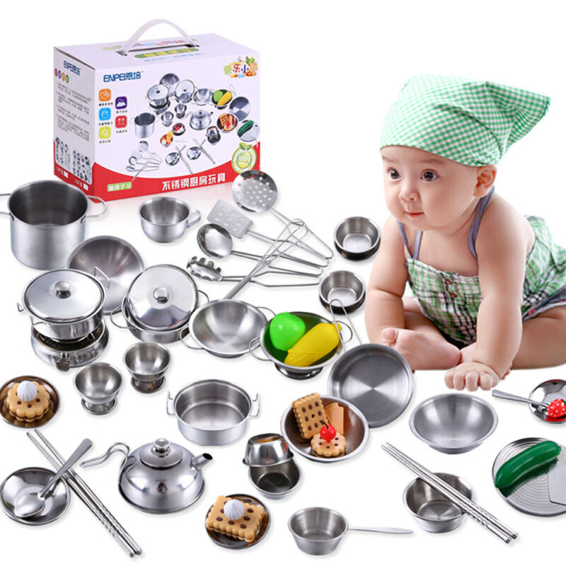 Pretend Kitchen Play Set for Kids 25Pcs Stainless Steel Cook