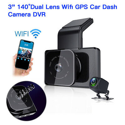 "3"" IPS 140FOV Dual Lens Wifi GPS Car Dash Cam DVR Loop Recroding Parking Monitor"