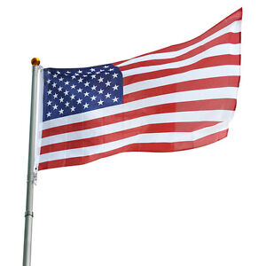 25 ft Flag Pole Kit Telescopic Aluminum Flagpole 3'x5' US Flag Ball Fly 2 Flags
