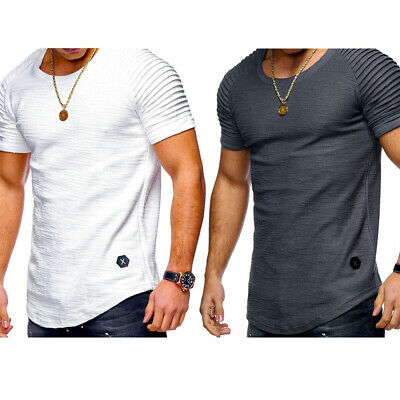 Mens Ripped Ruffle Short Sleeve T Shirt Casual Pullover Tops Blouse Muscle Tee](Ruffle Shirt Mens)