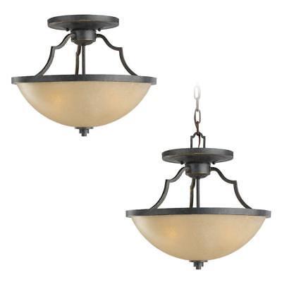 Sea Gull Lighting Roslyn 3-Light Flemish Bronze Semi Flush Mount 77520-845 845 Roslyn 3 Light
