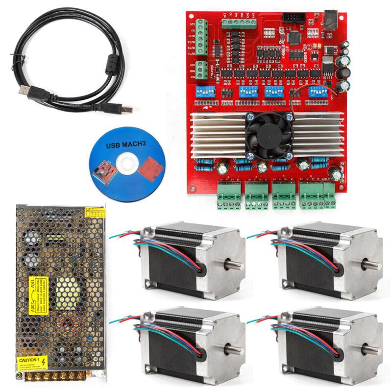MACH3 USB 4-Axis CNC Kit TB6600 Stepper Motor Driver Board+Nema23 Stepper Motor